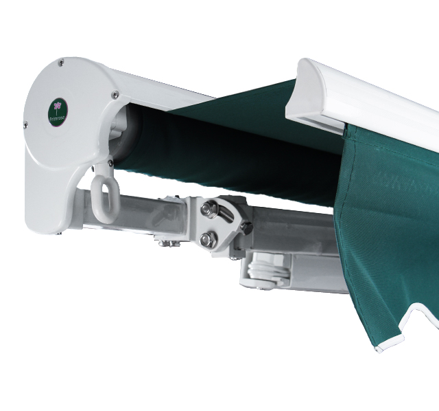 2.5m Half Cassette Manual Awning, Green And White Stripe