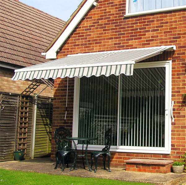 3.5m Half Cassette Manual Awning, Blue And White Even