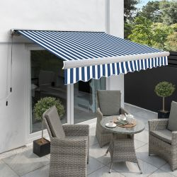 3.0m Full Cassette Manual Awning, Blue and White Stripe