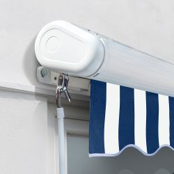 2.0m Full Cassette Electric Awning, Blue and White Stripe