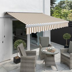 5.0m Full Cassette Electric Awning, Mocha Brown and White Stripe