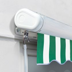 2.5m Full Cassette Electric Awning, Green and White stripe