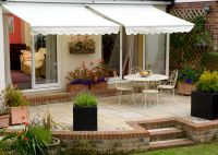 2.0m Half Cassette Electric Awning, Terracotta, Yellow and White