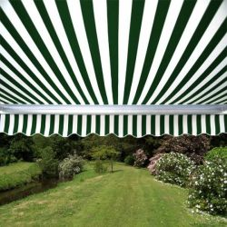 3.0m Full Cassette Electric Awning, Green and White Stripe