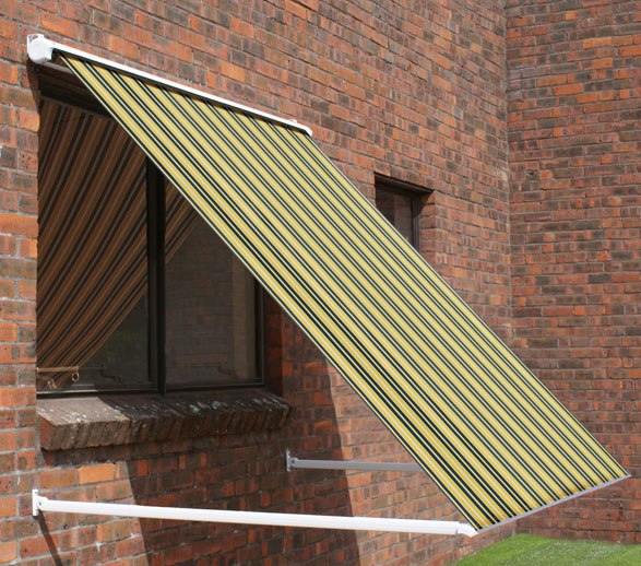 1.0m Half Cassette Drop Arm Awning, Yellow And Grey Stripe