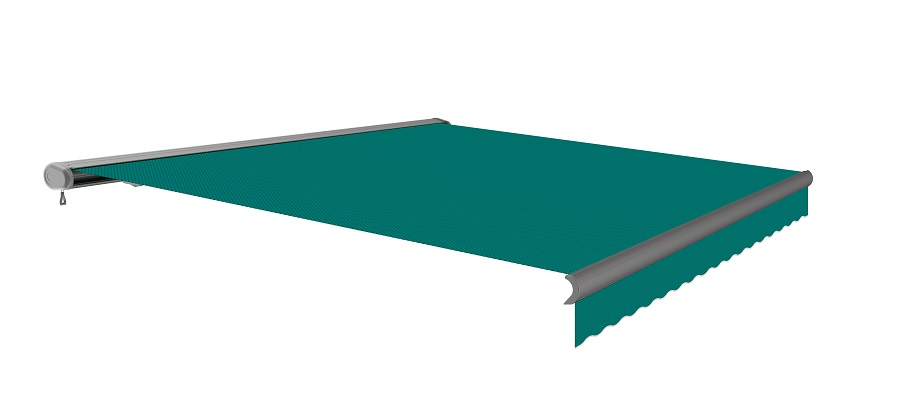 4 0m Full Cassette Electric Turquoise Awning Charcoal