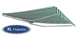 4.0m Half Cassette Electric Awning, Green and White Stripe (4.0m Projection)
