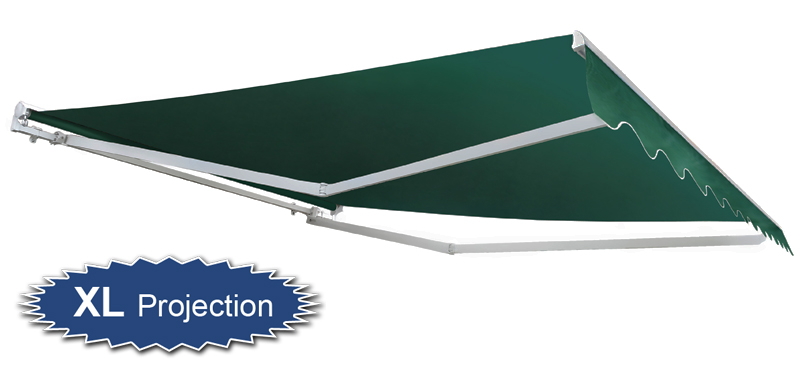4.0m Half Cassette Manual Awning, Plain Green (4.0m Projection)