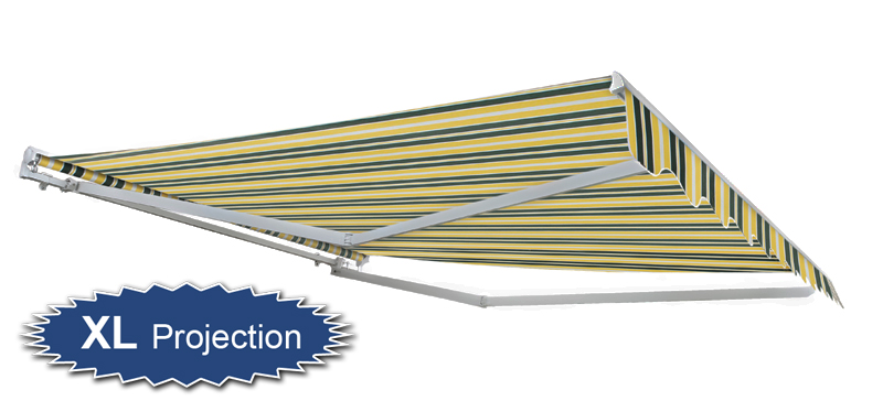 2.5m Half Cassette Manual Awning, Yellow and Grey (3.5m Projection)