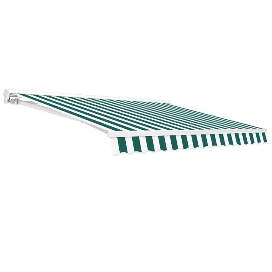 5.0m Half Cassette Electric Awning, Green and White