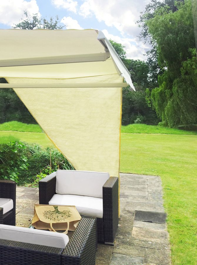 2.27m Right Angle Triangle Ivory Side Shade for Awning