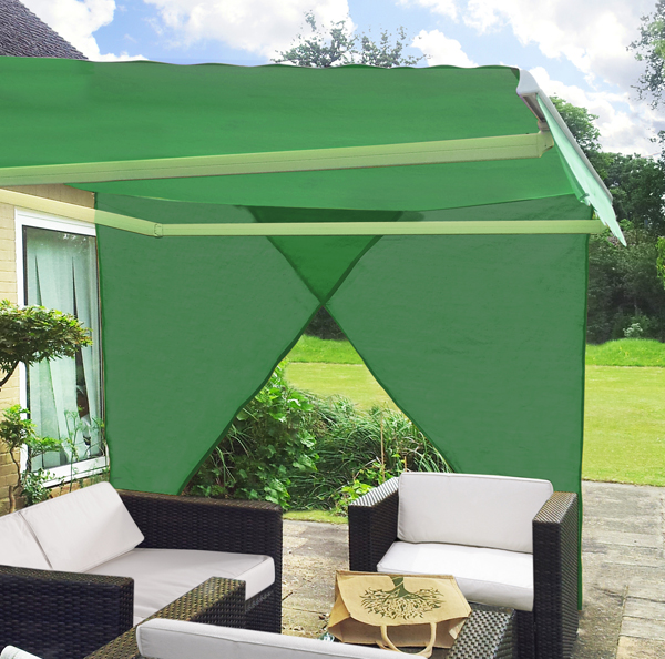 2.27m Set of 2 Right Angle Triangle Green Side Shades for Awning