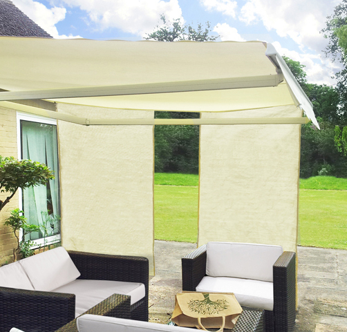 1.6m Set Of 2 Rectangle Ivory Side Shades For Awning £34.99