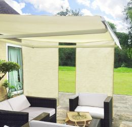 1.6m Set of 2 Rectangle Ivory Side Shades for Awning