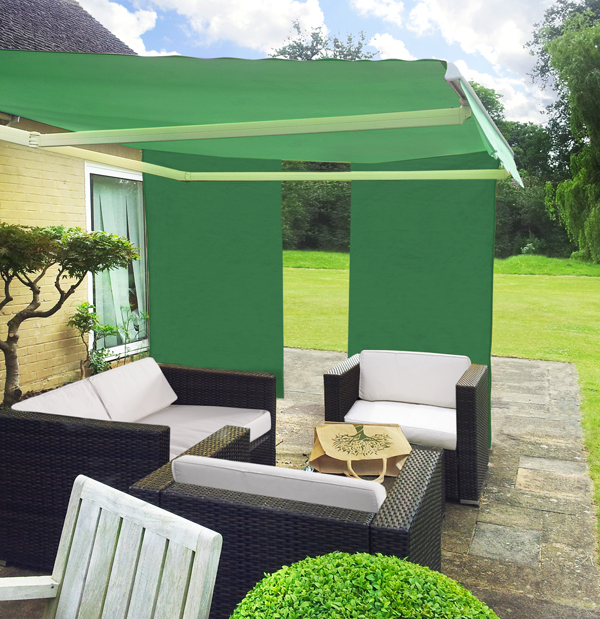 1.6m Set Of 2 Rectangle Green Side Shades For Awning £34.99