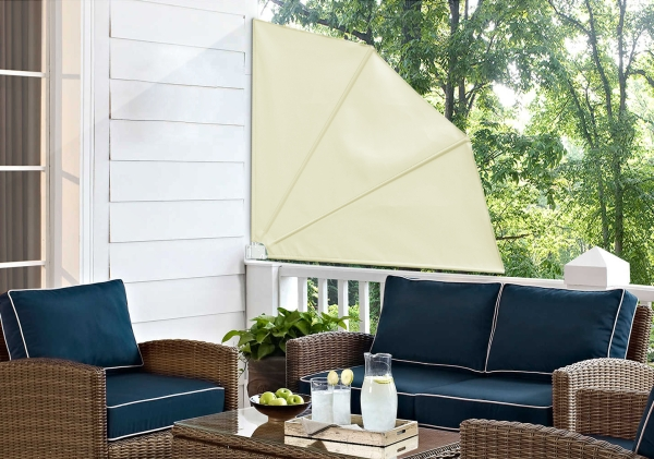 1.4m Patio Fan Wind Break Manual Awning in Ivory