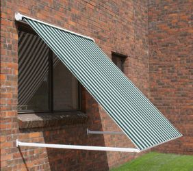 2.0m Half Cassette Drop Arm Awning, Green and White Stripe