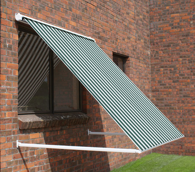 3.0m Half Cassette Drop Arm Awning, Green and White Even Stripe