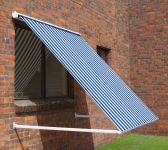 1.0m Half Cassette Drop Arm Awning, Blue and White Stripe
