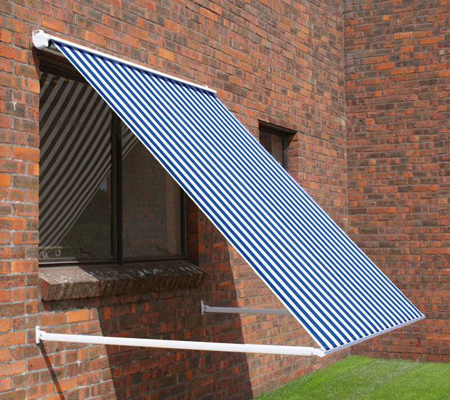 2.0m Half Cassette Drop Arm Awning, Blue and White Stripe