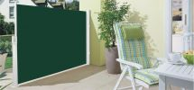 1.6m Patio Wind Break Full Cassette Manual Side Shade Plain Green Awning