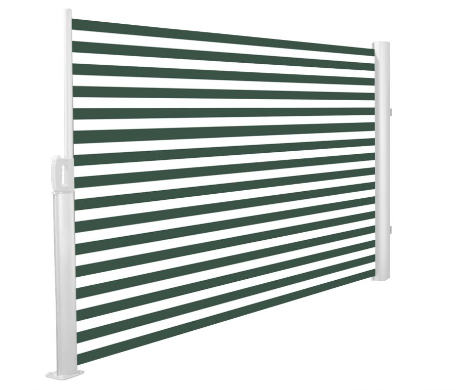 1.6m Patio Wind Break Full Cassette Manual Side Shade Green and White Awning