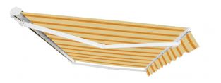 2.0m Half Cassette Manual Awning, Yellow Stripe