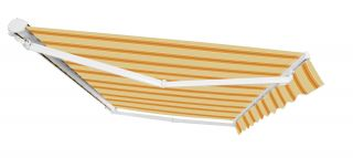 2.0m Half Cassette Electric Awning, Yellow Stripe
