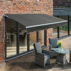 4m Budget Manual Awning, Charcoal