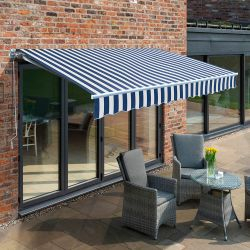 3.5m Budget Manual Awning, Blue and White