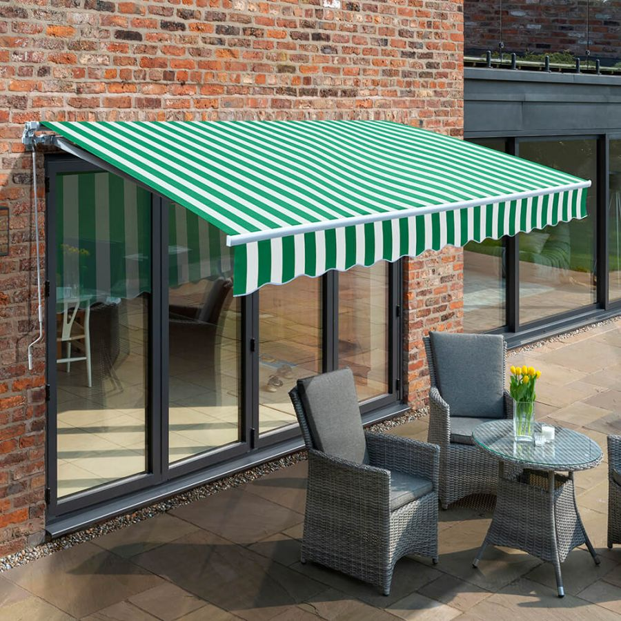 2.0m Budget Manual Awning, Green and White