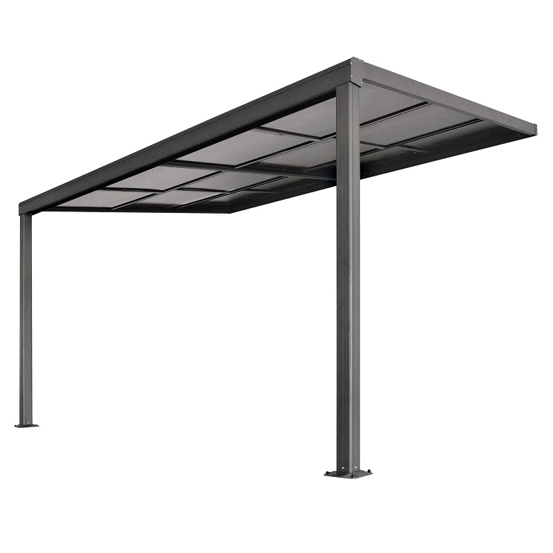 13.1ft x 9.8ft Anthracite Veranda Garden Canopy with Retractable Sliding Roof - Lean to Wall - Primrose™