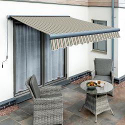5.0m Full Cassette Electric Multistripe Awning (Charcoal Cassette)