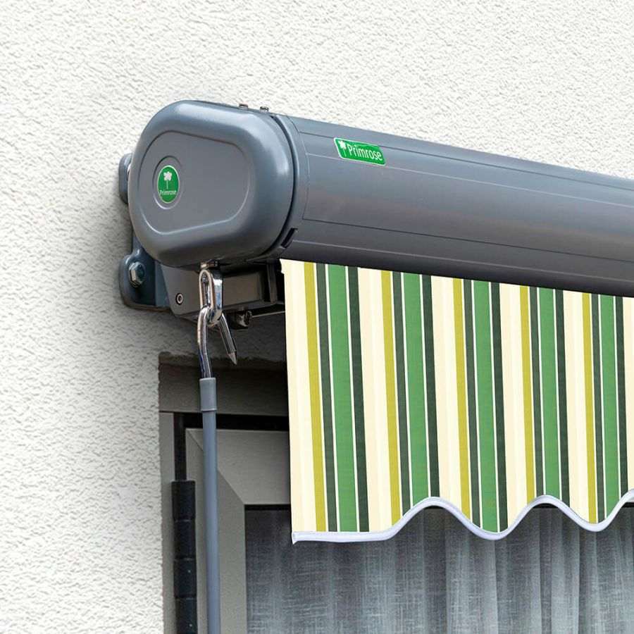 4 0m Full Cassette Electric Green Stripe Awning Charcoal