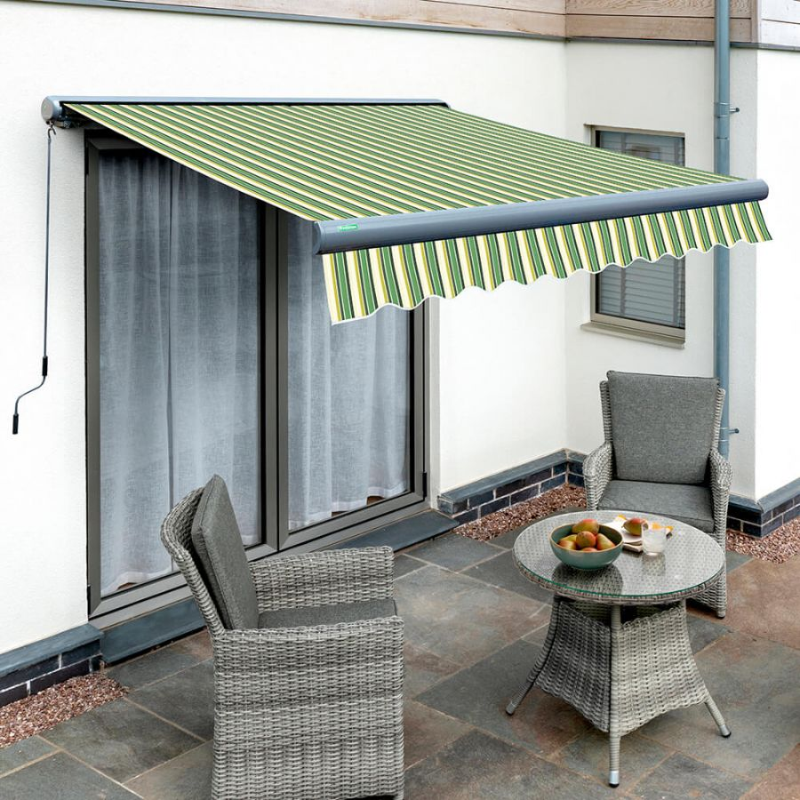 3.5m Full Cassette Manual Green Stripe Awning (Charcoal Cassette)