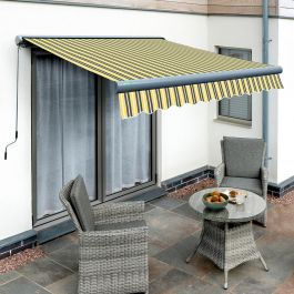 4.0m Full Cassette Electric Yellow and Grey Awning (Charcoal Cassette)