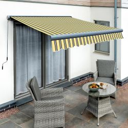 3.5m Full Cassette Manual Yellow and Grey Awning (Charcoal Cassette)