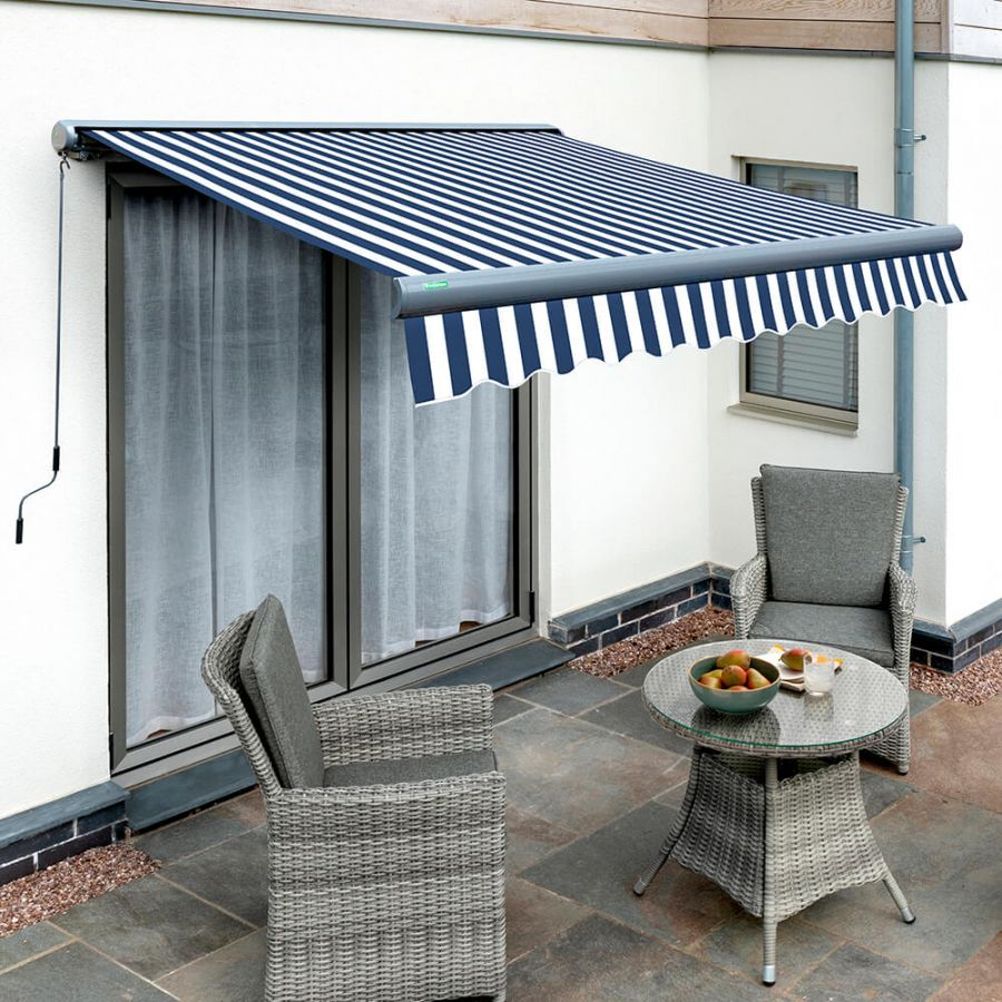 5.0m Full Cassette Electric Blue and White Awning (Charcoal Cassette)
