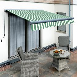 3.0m Full Cassette Electric Green and White Awning (Charcoal Cassette)