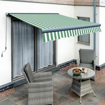 3.5m Full Cassette Manual Green and White Awning (Charcoal Cassette)