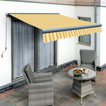 5.0m Full Cassette Electric Yellow Stripe Awning (Charcoal Cassette)