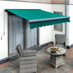 3.5m Full Cassette Manual Plain Green Awning (Charcoal Cassette)