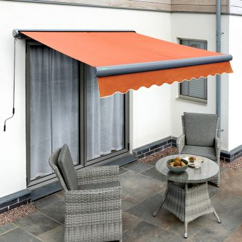 3m Full Cassette Manual Terracotta Awning (Charcoal Cassette)