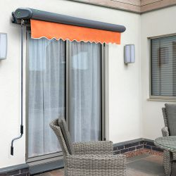 3.5m Full Cassette Manual Terracotta Awning (Charcoal Cassette)
