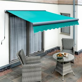 4.0m Full Cassette Electric Turquoise Awning (Charcoal Cassette)