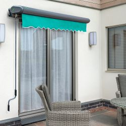3.5m Full Cassette Manual Turquoise Awning (Charcoal Cassette)