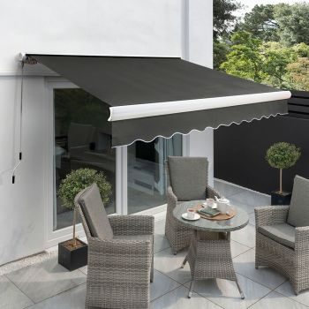 3.5m Full Cassette Electric Awning, Charcoal