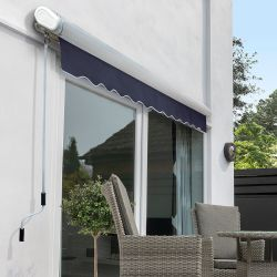 2.5m Full Cassette Manual Awning, Plain Dark Blue