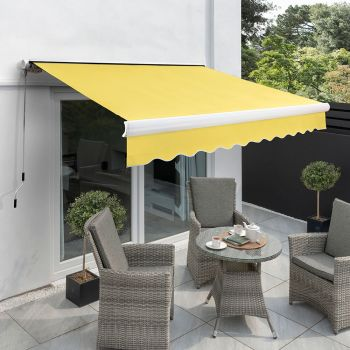 2.5m Full Cassette Manual Awning, Lemon Yellow