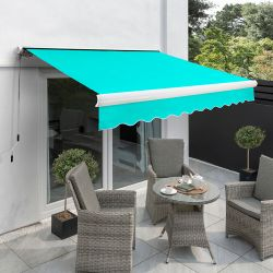 4.0m Full Cassette Manual Awning, Turquoise